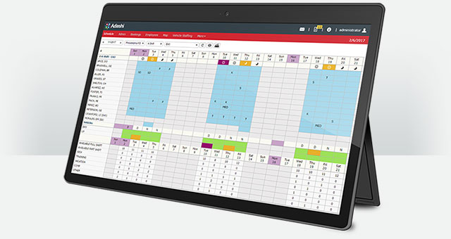Adashi RollCall - Staff Scheduling Screen on a Surface Tablet
