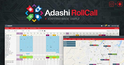 Adashi Systems RollCall Staff Scheduling Software - Mapping and Monthly Scheduling Screen Shots